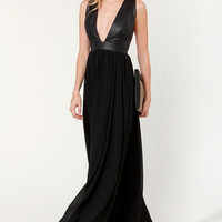 Mystery and Suspense Plunging Black Maxi Dress