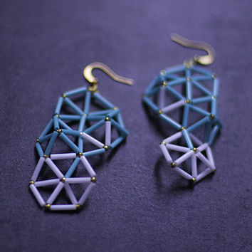Mint green and milk white geometric earrings