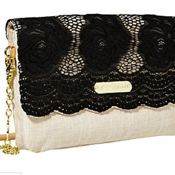 Betsey Johnson Lace Over Shoulder Bag Black