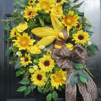 Sunflower Wreath, Bumble Bee Spring Summer Wreath, Spring Wreath Front Door, Wreath Front Door,Spring Door Wreath,Summer Door Wreath