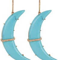 Gold Turquoise Crescent Moon Diamond Bar Earrings