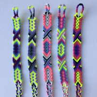 Friendship Bracelets with Neon Floss