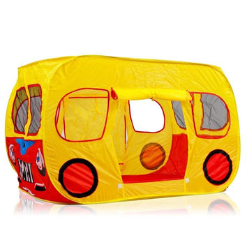 Colorful Pop Up Play Tent in Yellow School Bus Design with Mesh Windows