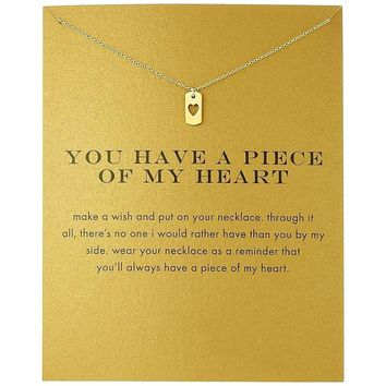 2018 New Hollow Love Dog Tag Pendant Short Chain Choker Necklace For Women Golden wish necklace with card Jewelry As gift HEART