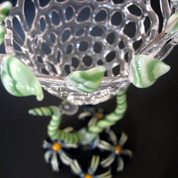 Botanical Glass Sculpture, Spring Art Vessel, Flowers, Vines, Leafs, Weaved Basket, Abstract, Handmade