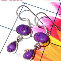20% Off Sales Purple Turquoise Earring, Cabochon Turquoise, Sterling Silver Earring, Bezel Set Earring, Fashion Earring, 925 Silver Earring,