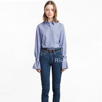 2017 new spring square neck long sleeved blue and white striped shirt and slim slim all-match student blouses