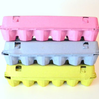 6 Recycled Paper Pulp Egg Cartons, Choose Your Of Colors: Pink, Lime Green, Blue