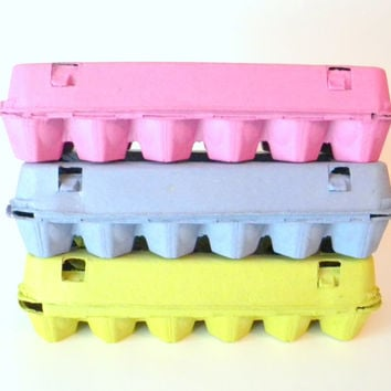 36 Recycled Paper Pulp Egg Cartons, Choose Your Colors: Pink, Lime Green, Blue