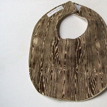 BABY BIB eco friendly unisex baby eating bib - forest woodgrain woodland rustic brown faux bois