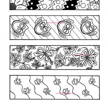 Adult Coloring Bookmarks - Set of 4 Hand Drawn Images - Flowers, Owls, Paw Prints - Coloring