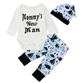 3PCS Newborn Baby Boys Cartoon Tops Romper +Pants Hat Outfits Autumn Clothes Set 2017 Baby Boys Set