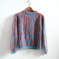 Lambs wool Pullover - Geometric Turquoise