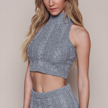GREY CABLE KNIT TURTLENECK CROP TOP