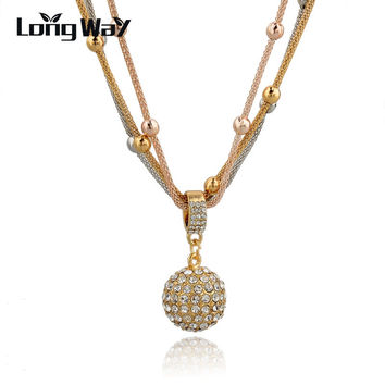 2016 Hot Sale Women Long Necklace Gold Plated Chain Necklace Full Rhinestone Ball Pendant Necklace SNE140451