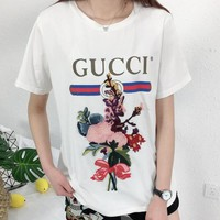 Gucci Women Bouquet Embroidery Letter Print Short Sleeve Cotton T-Shirt Top