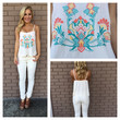 Cream Sunshine Embroidered Tank