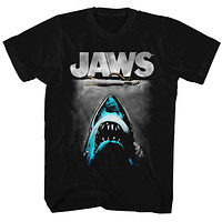 Jaws Tall T-Shirt Lichtenstein Movie Poster Black Tee
