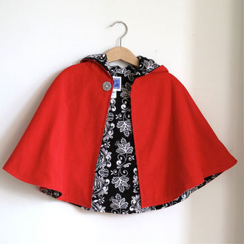 Little Red Riding hood toddler girls cape with black by aprilscott