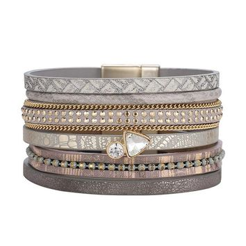 ZG Clear Stone Leather Bracelet For Men Women Vintage Multiple Layers Simulated Crystal Cuff Bracelets Feminino Jewelry