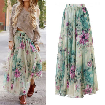 NEW BOHO Women Floral Jersey Gypsy Loose Long Maxi Full Skirt Summer Beach Sun Beach Skirt