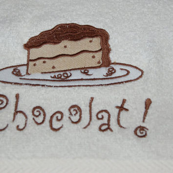Paris WASHCLOTH, Chocolate Design - Luxury White Cotton