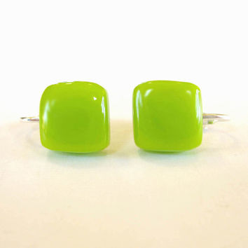 Lime Green Glass Clip On Earrings Earrings ClipOn by mysassyglass