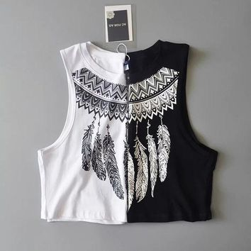 DCCKJ6E Bralette Comfortable Beach Sexy Hot Stylish Summer Crop Top Feather Print Vest [11550708111]