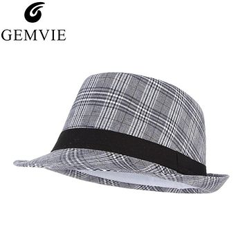 Summer Hats For Men Plaid Fedoras Derby Bowler Hat Male Jazz Gangster Caps Panama Church Hats Panama