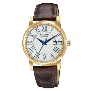 Citizen EW1562-01A Women's Gold Tone Steel Brown Leather Strap Eco-Drive Watch