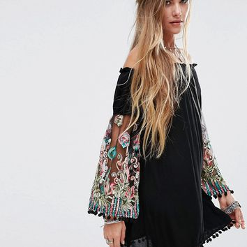 Kiss The Sky Off Shoulder Swing Dress With Embroidered Floral Sleeves