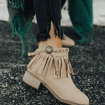 SOPHIA Fringe Conch Booties in Taupe