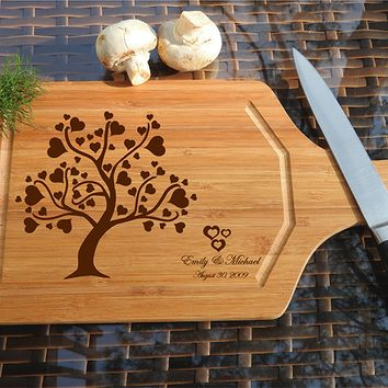 ikb498 Personalized Cutting Board Wood wooden wedding gift anniversary date heart tree