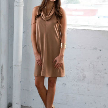'Coffee Break' Cowl Neck Sweater Dress (Camel)