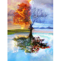 30*40cm Full Drill Wishing Tree 5D Rhinestone Diamond Painting DIY Embroidery Painting Craft Cross Stitch Home Living Room Decor