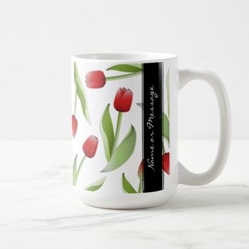 Red Tulip Love Floral Patten Elegant Chic Custom Coffee Mug