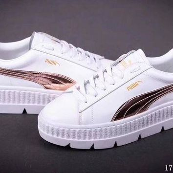PEAPON3A VAWA Puma x Fenty by Rihanna Cleated Creeper Suede Flatform Shoes White Brown