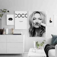Chic Famous Celebrity Supermodel Cuadros Kate Moss Sexy lips life is a joke For Lijst Canvas Art Prints Wall Posters Home Decor