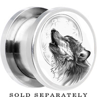 18mm Steel Howling Wolf Screw Fit Plug | Body Candy Body Jewelry
