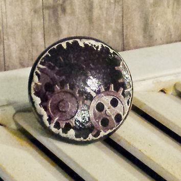 Handmade Knobs Drawer Pulls, Steampunk Gears, 1.5 Inch Industrial Style Cabinet Pull Handles, Dresser Knob Pulls, We Make Customized Orders