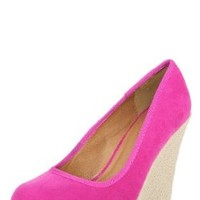Worthy100 Espadrille Round Toe Wedge Pumps FUCHSIA