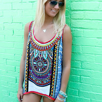 Summertime Magic Exotic Print Sleeveless Blue High Low Racerback Tank