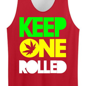 Keep one rolled  mesh jersey