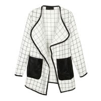White Long Sleeve Plaid Contrast Leather Pockets Coat