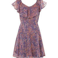 18 and East Purple Floral Frill Dress