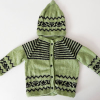 Hand Knitted Baby Set - Cardigan, Hat  - Natural green and black, 24 - 30  mon 2 year