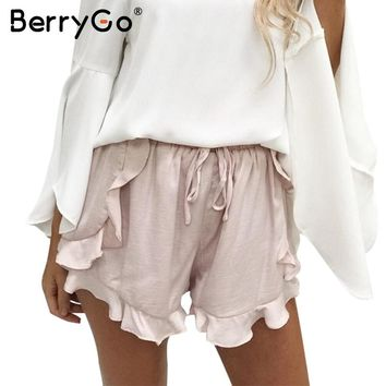 BerryGo High waist ruffles shorts women Sexy drawstring beach summer shorts Loose elastic waist streetwear shorts