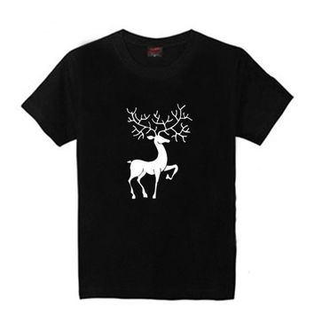 Custom Christmas short-sleeved T-shirt round-neck printed moose half-sleeved clothes holiday top cotton men and women party dress pure cotton