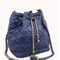 Casey Lambskin Leather Bucket Bag Blue