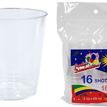 2 oz. Clear Plastic Shot Cup Tumblers 16-Packs - CASE OF 36